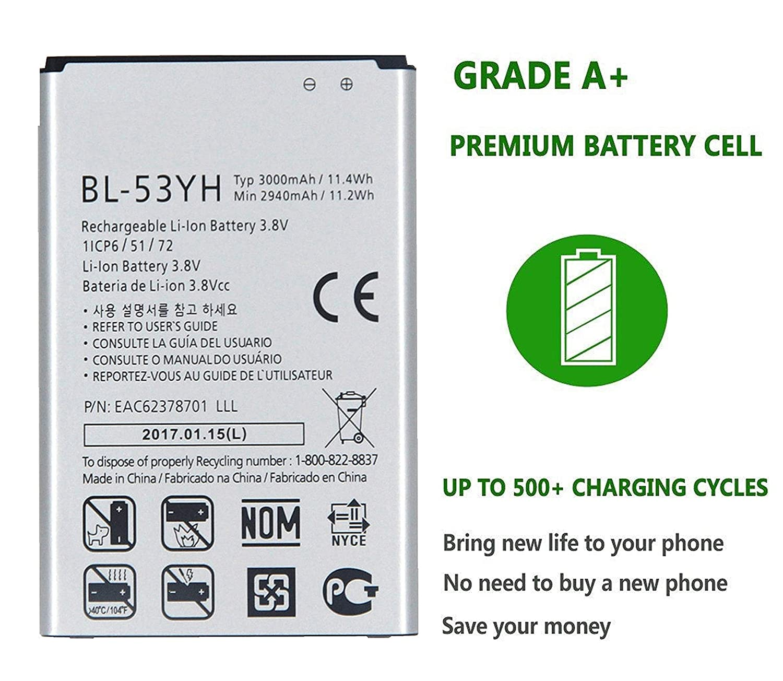 G3 Replacement Battery 3000mAh BL-53YH D850/D851/D852/D855 ...