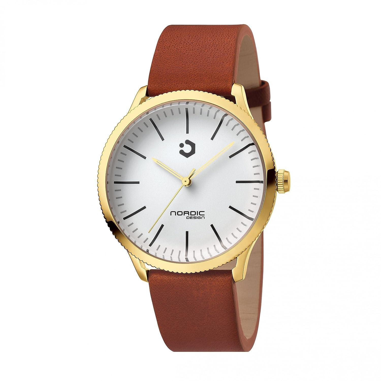 NORDIC DESIGN HAMAR V Armband: Echtleder rot-braun 20mm - Farbe:gold Edelstahl