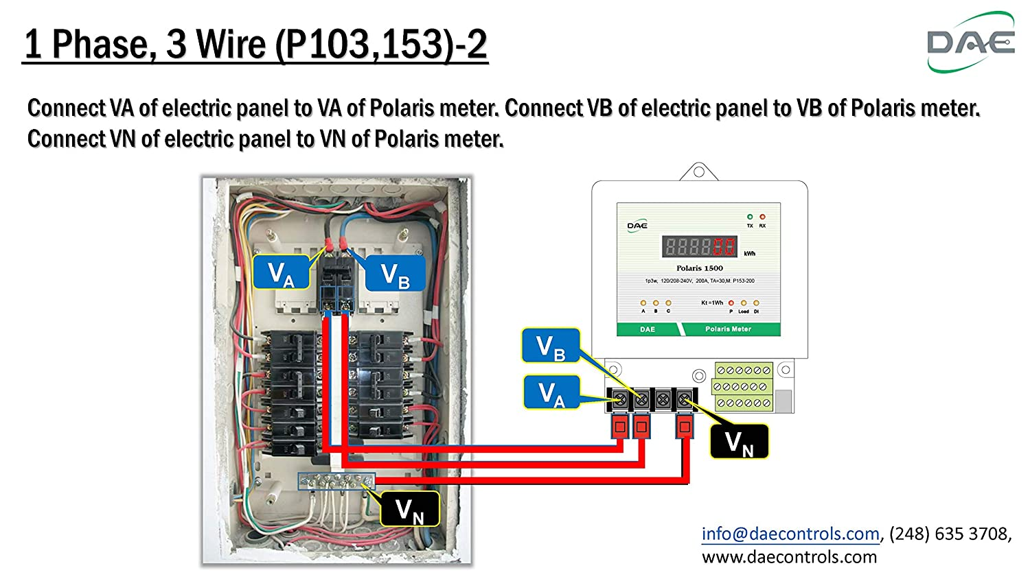 Dae P153 200 S Kit Ul Kwh Smart Submeter 1 Or 2 Phase Hot Wire Single Meter Wiring Diagram 200a 120 240v Cts Rs485 Electrical Boxes Amazon Canada