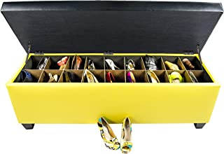 """product image for The Sole Secret Shoe Storage Bench 53"""" x 20"""" x 20.5"""", Black/Yellow"""