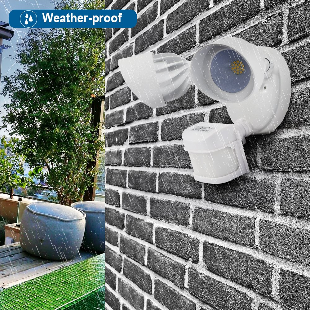 DEWENWILS LED Outdoor Security Light with Motion Sensor, 24W 5000K Waterproof Adjustable Floodlight, High Sensitivity, Aluminum + Glass, for Yard Garage Driveway Exterior Porch, UL Listed by DEWENWILS (Image #5)