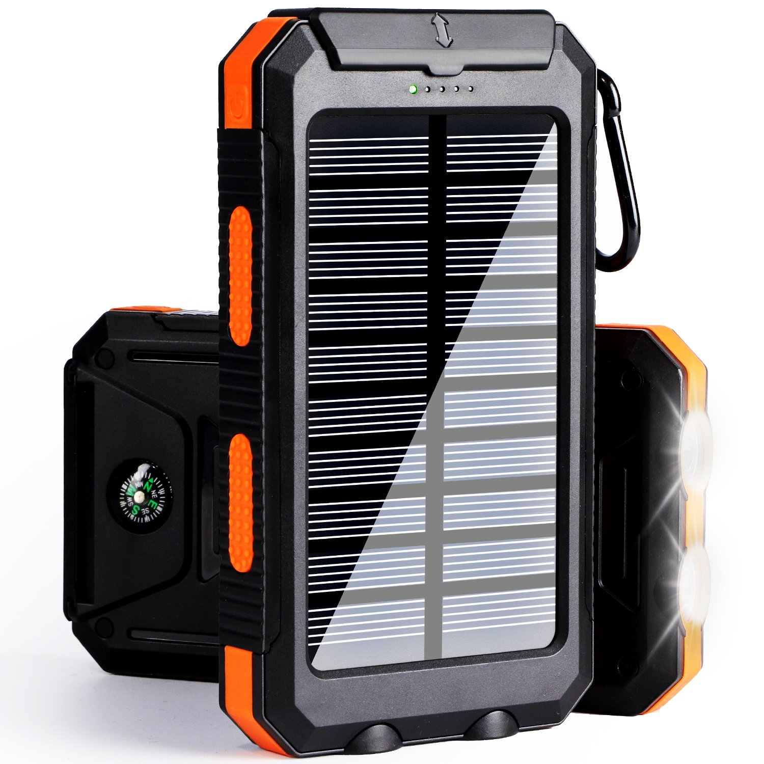 Soyond Solar Phone Charger, Solar Power Bank, 10000 mAh Portable Power Bank Solar Battery Charger Dual USB Waterproof with 2 Led Light Flashlight Compass for iPhone, ipad, Samsung(Orange)