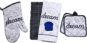 The Spotted Moose Insirational 5 Piece Kitchen Linen Bundle with 2 Dish Towels, 2 Potholders, and 1 Oven Mitt (Dream)
