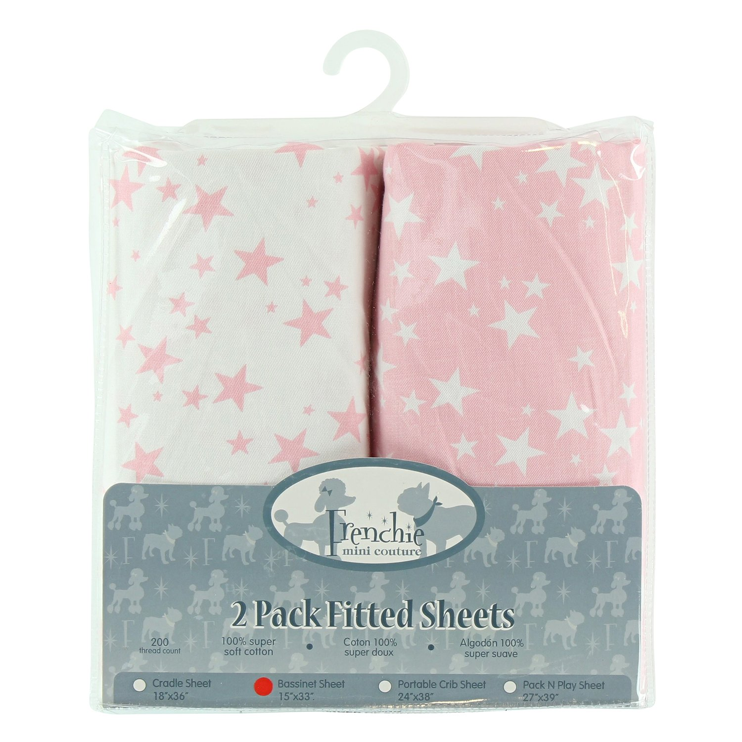 2 Pack Fitted Bassinet Sheets, Pink Stars, Frenchie Mini Couture