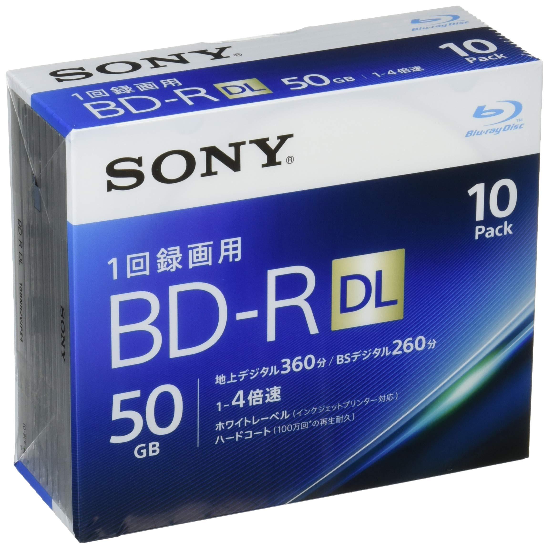 Sony 4X BD-R DL 10 pack 50GB White Printable 10BNR2VJPS4 by Sony