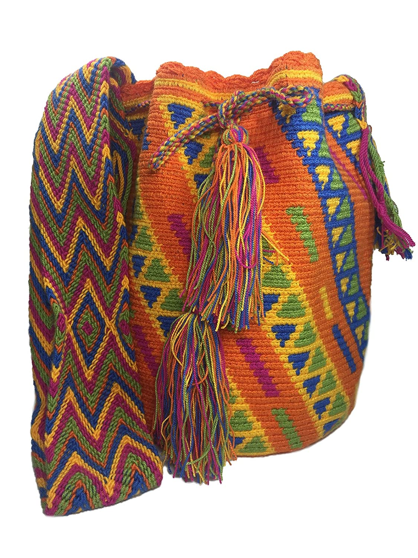 Wayuu Mochila Bag 100% Colombian Ethnic Hand Woven Large -Multicolor Boho Style