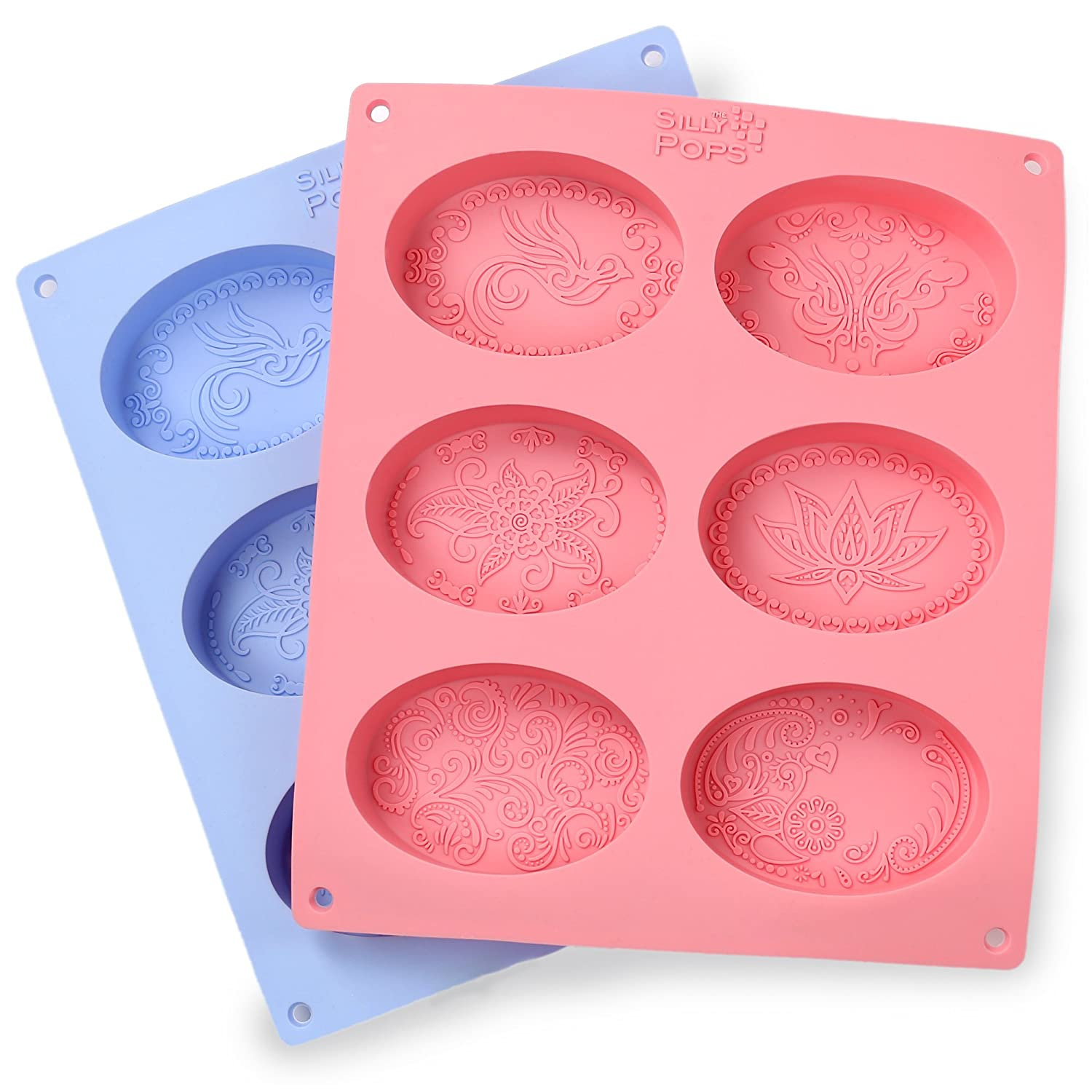 Ellipse Silicone Soap Molds - Set of 2 for 12 Cavities - Mixed Patterns - Soap Making Supplies by the Silly Pops 4336901338