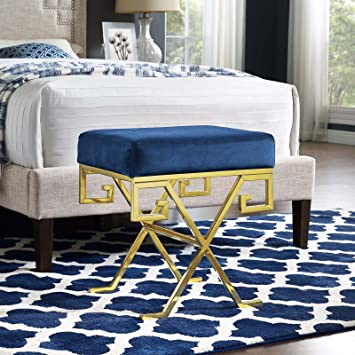 Super Modway Eei 2877 Gld Nav Twist Velvet Bench Gold Navy Ibusinesslaw Wood Chair Design Ideas Ibusinesslaworg
