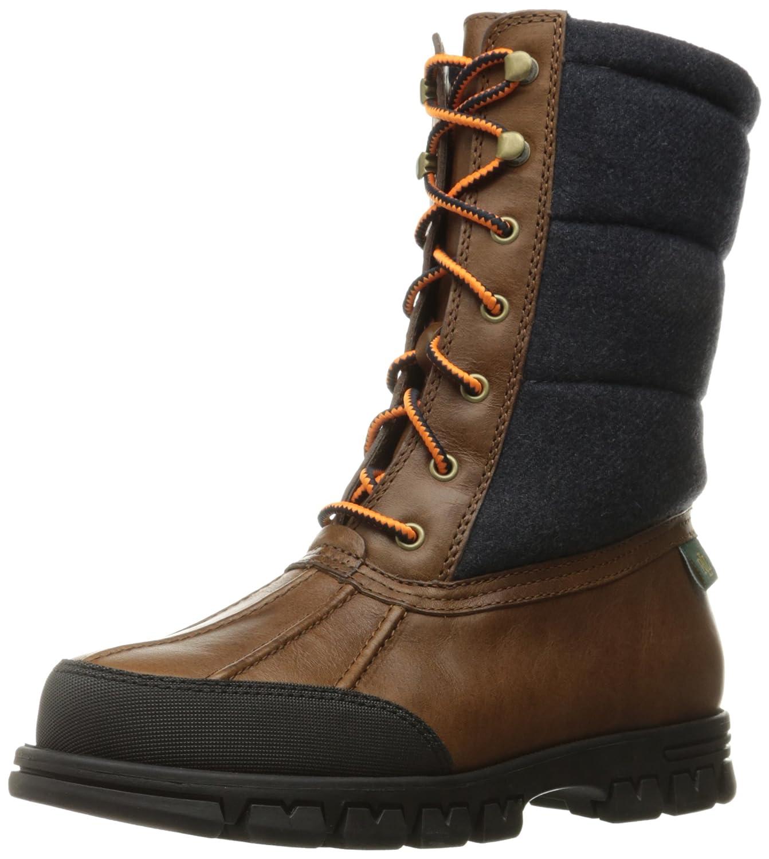 Lauren by Ralph Lauren Women's Quinlyn Snow Boot B01GFJMR4G 6.5 B(M) US|Tan/Navy Leather/Flannel