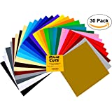 "Permanent Adhesive Backed Vinyl Sheets - PrimeCuts - 30 SHEETS 12"" x 12"" - 30 Assorted Color Sheets for Cricut, Silhouette Cameo, and Other Craft Cutters"