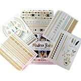 5 Sheets Metallic Tattoos Gold and Silver Flash By Modern Boho HUGE Collection Fast Free Shipping