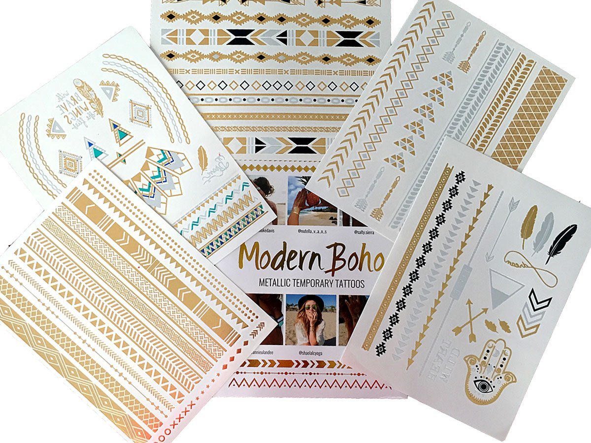 boho metallic temporary tattoos, multiple sheets