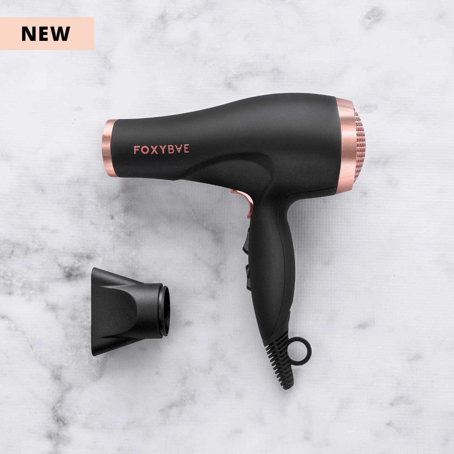 FoxyBae Blomance Professional Hair Dryer – Salon Grade Rose Gold and Black Ionic Blow Dryer – Ceramic Tourmaline Negative Ion – MSRP 174