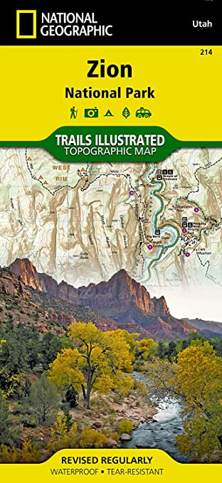 Zion National Park National Geographic Trails Ilrated Map