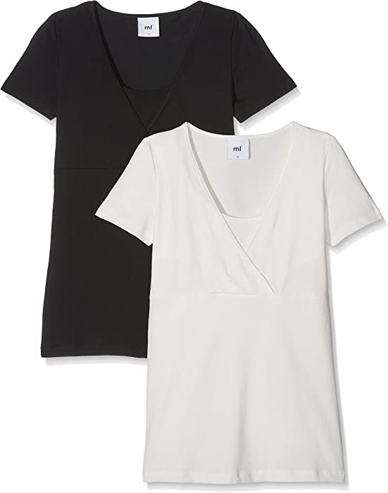 12c98304caf1 MAMALICIOUS Damen Umstands-T-Shirt MLLEA Organic TESS S/S TOP NF 2PACK