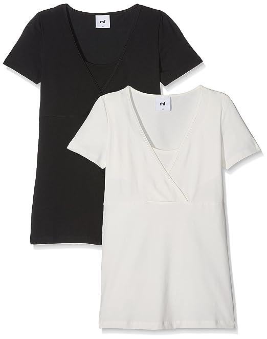 Mama Licious Mllea Organic Tess S/s Top Nf 2pack Noos, Camisa de Maternidad para Mujer, Negro (Black Pack:Snow White), 38 (Talla del Fabricante: Medium)(Pack de 2)