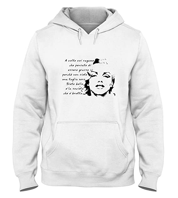 Sudadera con Capucha para Hombre Blanca T0572 Marilyn Monroe Frase Fun Cool Geek: Amazon.es: Ropa y accesorios