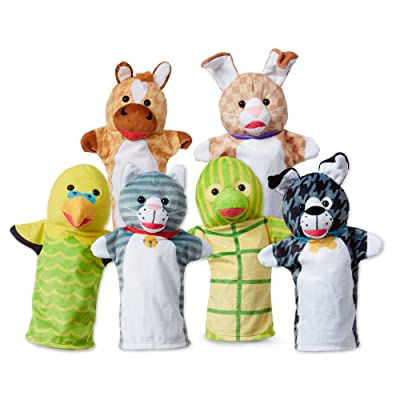 Melissa & Doug Pet Buddies Hand Puppets, Set of 6 (Cat, Dog, Horse, Parrot, Turtle, Rabbit): Toys & Games