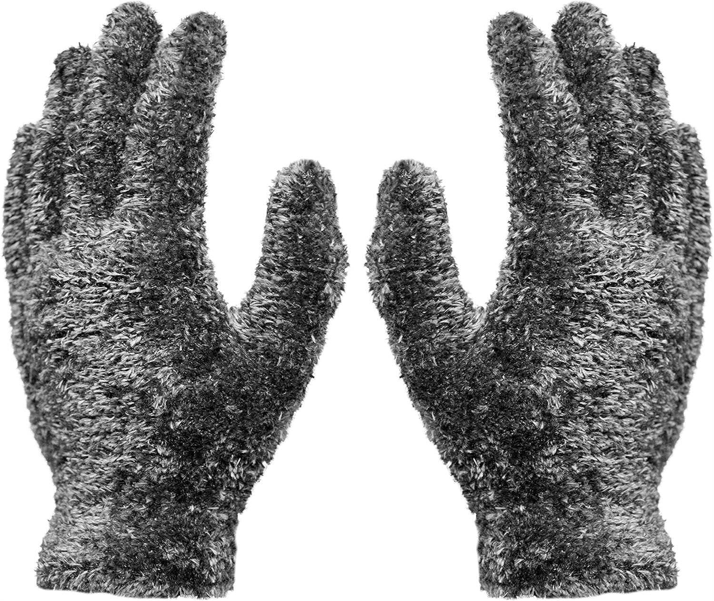 1 Paar Kuschel - Plüsch - Handschuhe Magic Gloves Grau