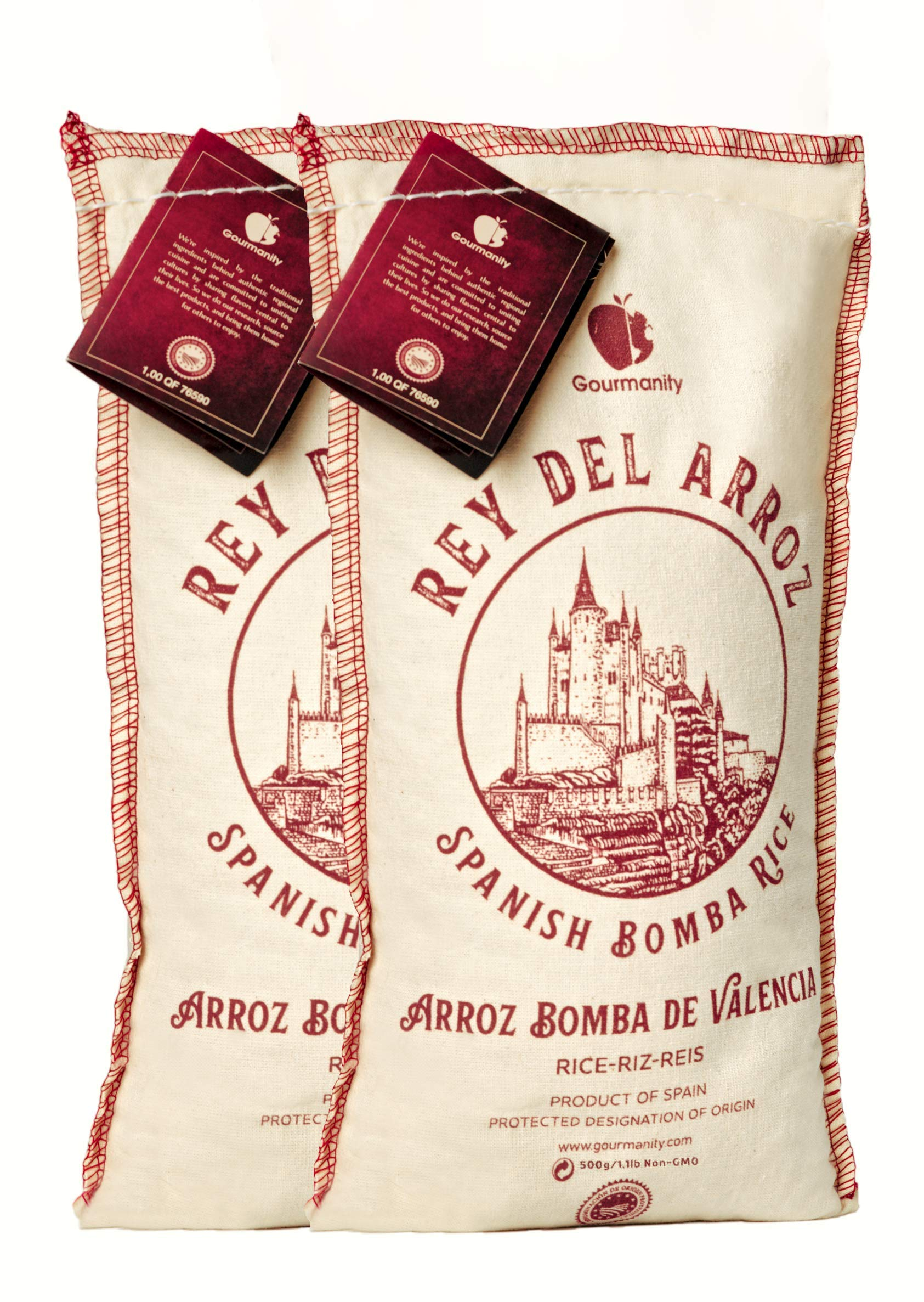 Gourmanity 500g (Pack of 2) Spanish BombaRicefor Paella, Rey del Arroz Authentic Spanish BombaRicefrom Spain