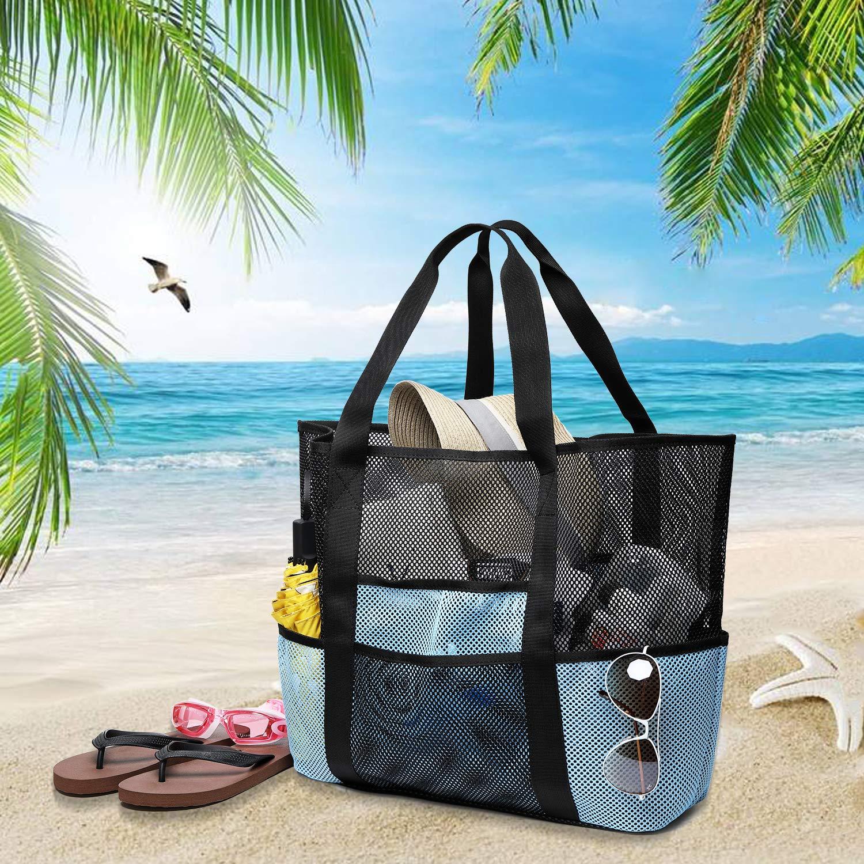 Coolty Gro/ße Netztasche f/ür den Strand Schwarz//Blau Faltbar Strandtasche f/ür Familie Urlaub Picknick Schwimmen Outdoor-Aktivit/äten