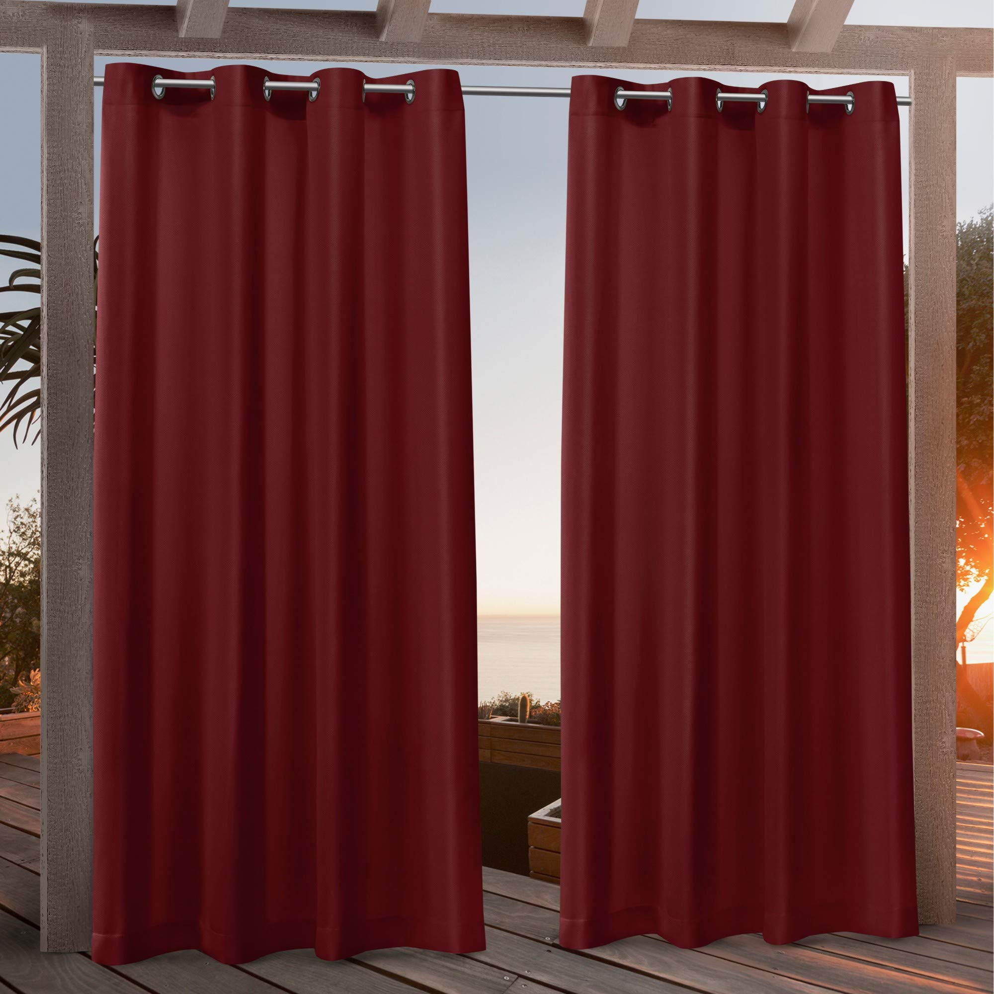 Nicole Miller Canvas Indoor/Outdoor Grommet Top Curtain Panel, 54x96, Red, 2 Piece