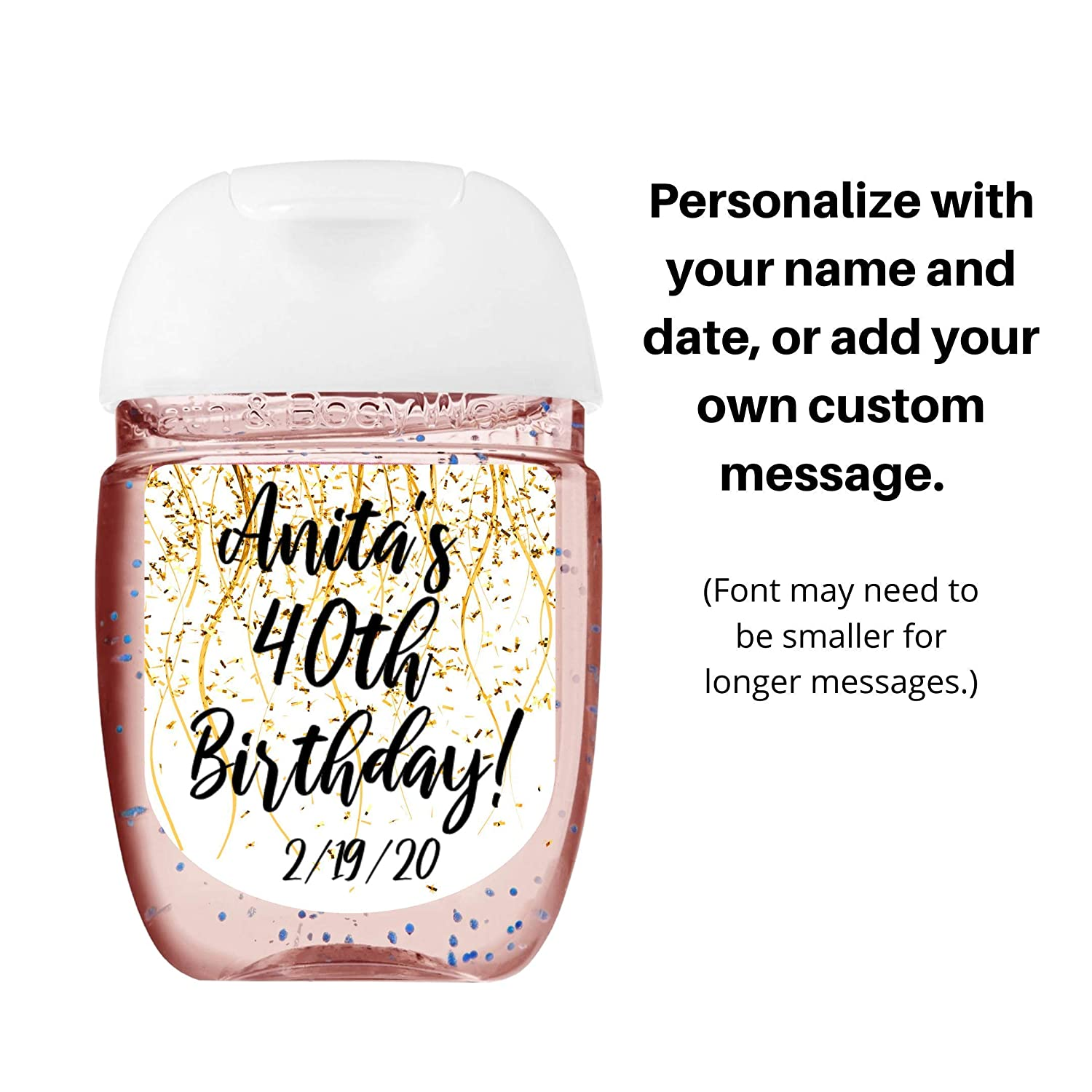 Sheet of 30 Personalized Labels Personalized Hand Sanitizer Sticker Gold Confetti Custom Hand Sanitizer Label