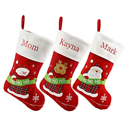 c96cad81b Amazon.com  WEWILL Set of 3 Pieces Personalized Christmas Stockings ...