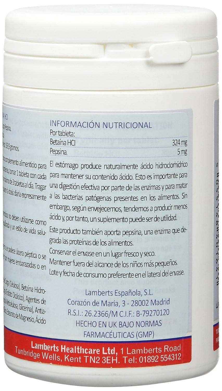 Lamberts BetaÃna HCl 324mg Pepsina 5mg - 180 Tabletas: Amazon.es: Salud y cuidado personal