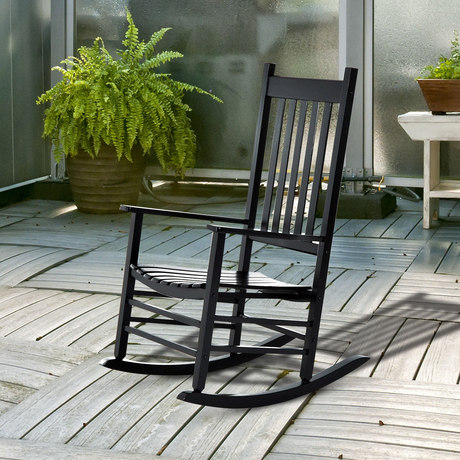 Outsunny Porch Rocking Chair - Outdoor Patio Wooden Rocker - Black by Outsunny (Image #2)