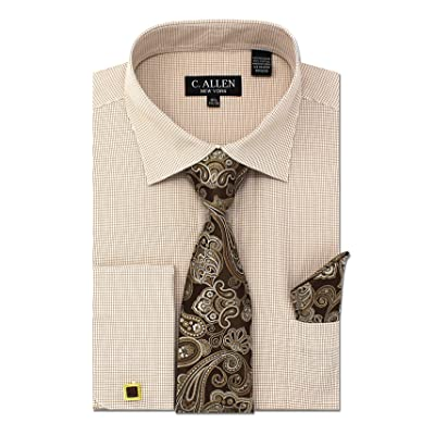Men's Regular Fit Dress Shirts with Tie Hanky Cufflinks Set Combo French Cuffs Check Pattern at Amazon Men's Clothing store