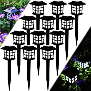 Meykers Solar Lights Outdoor Decorative for Garden Patio Landscape Path Pathway Yard Driveway at Night - Solar Powered Lanterns Stake LED Lighting Outside Decor Waterproof - 12 Pack Cold White
