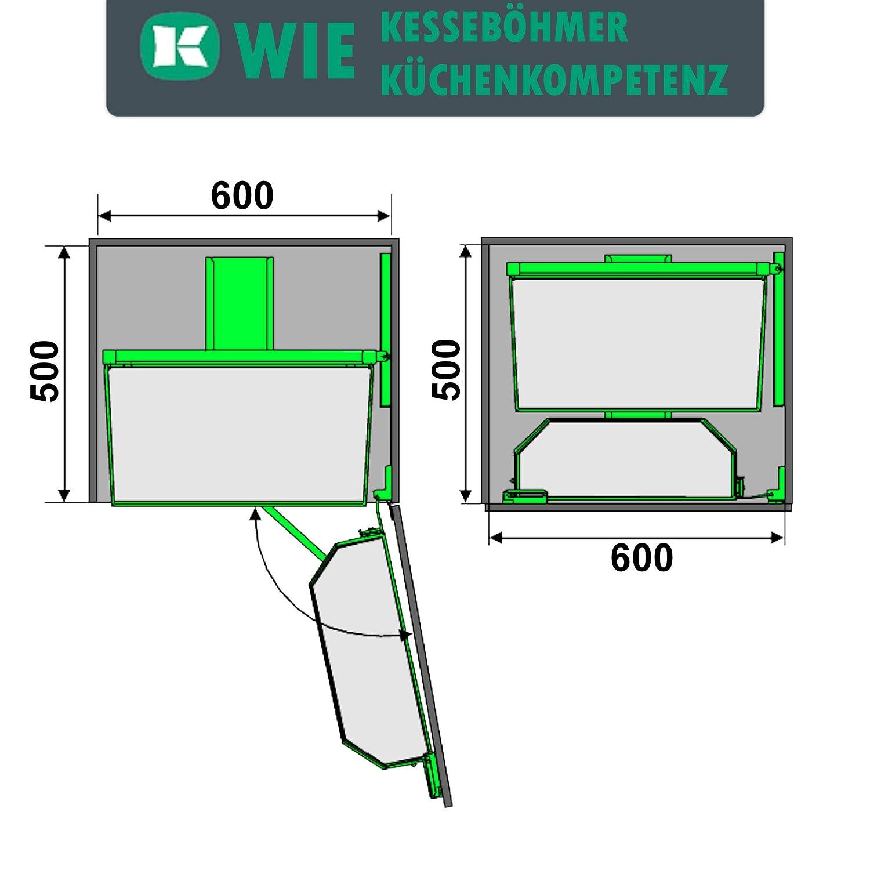 f/ür 45er Hochschrank inkl T/ürregal u H/öhe: 1100 mm Einh/ängetablare SO-TECH/® DISPENSA-Tandem Schwenkbeschlag 4-etagig