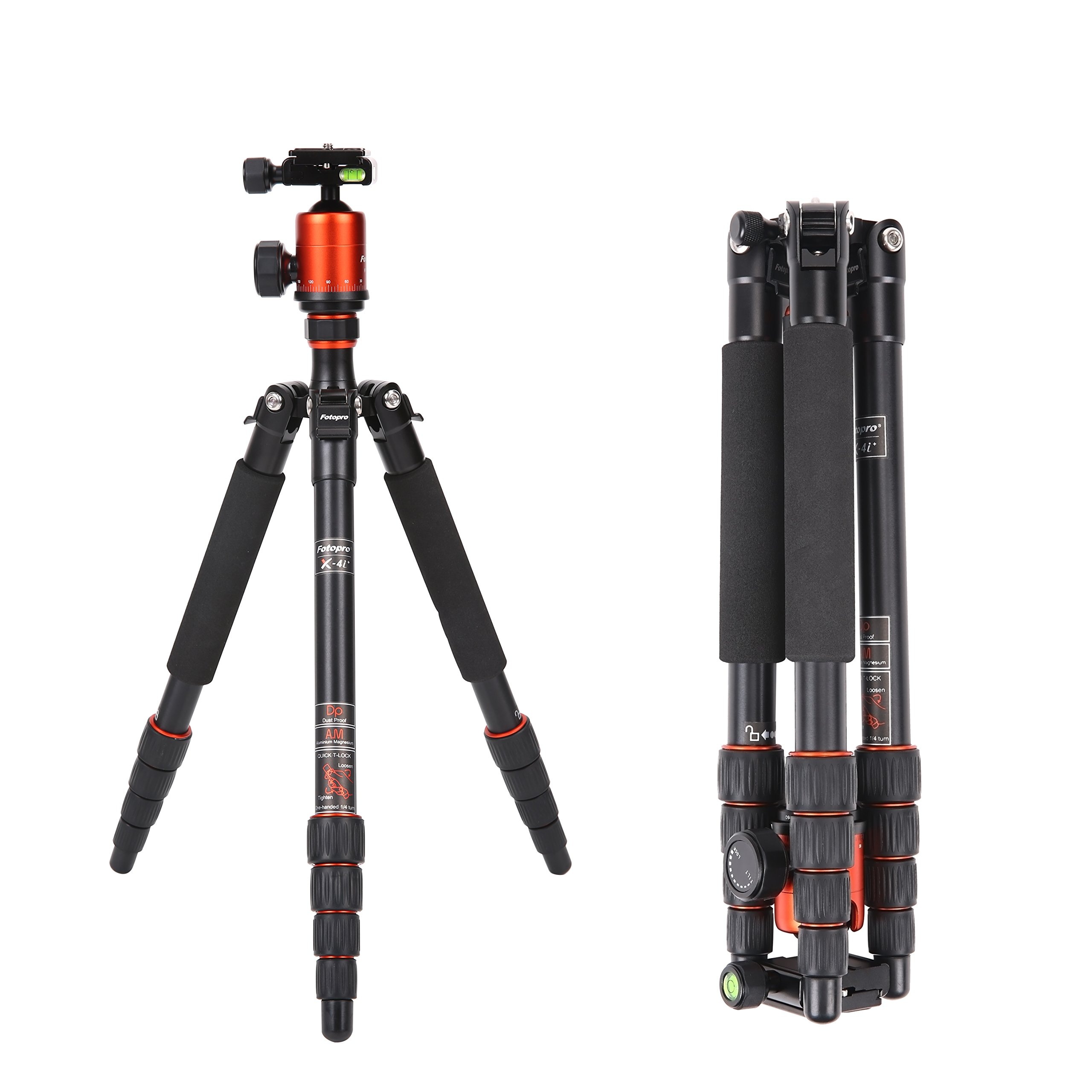 Camera Tripod,Fotopro X4i+ Alluminum Alloy Professional Compact Travel Portable Camera Tripod 53.5 Inch with Ball Head Quick Release Plate DSLR Tripod for Camera Nikon/Sony/Pentax/Canon,Orange