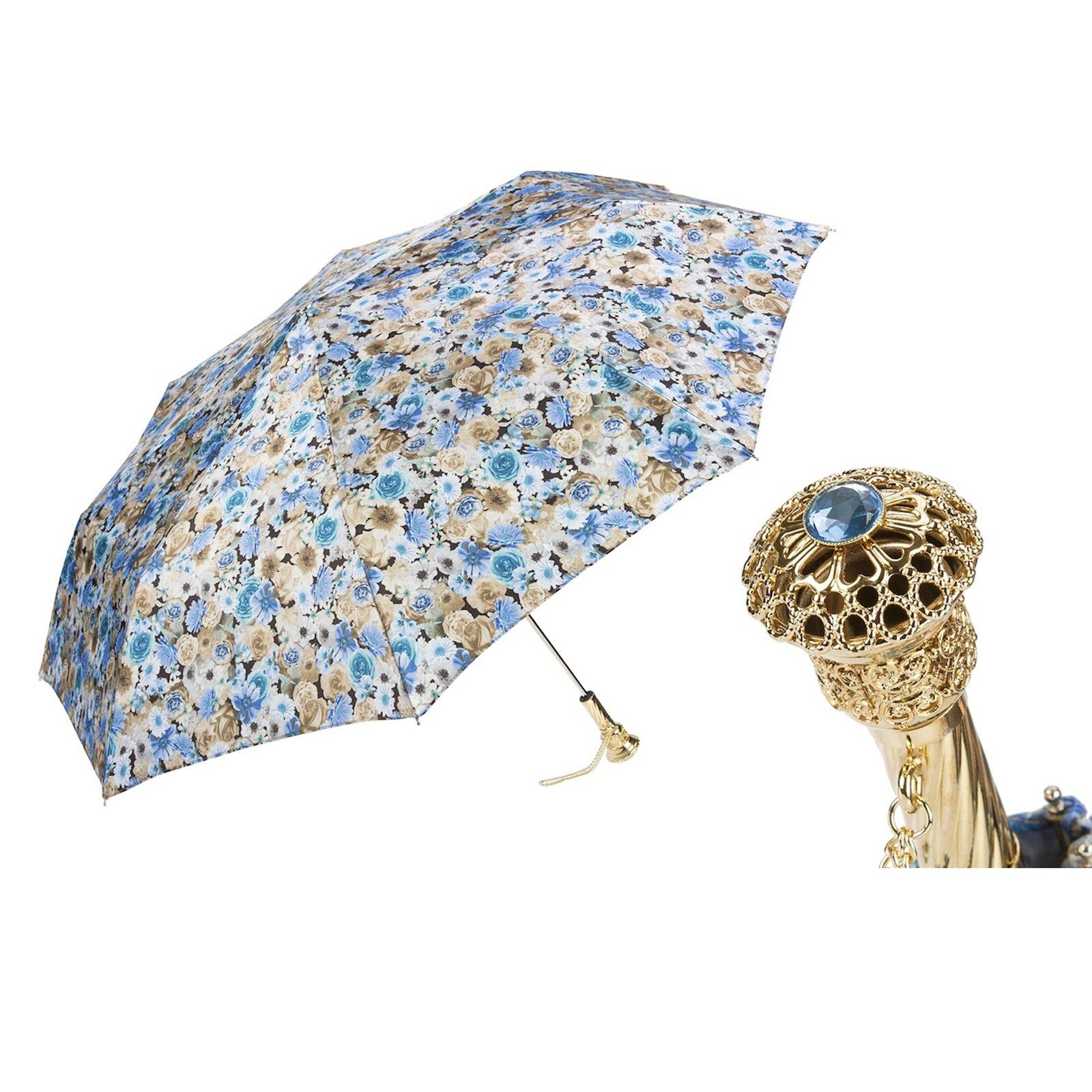 Pasotti Ombrelli Blue Flowers Folding Umbrella