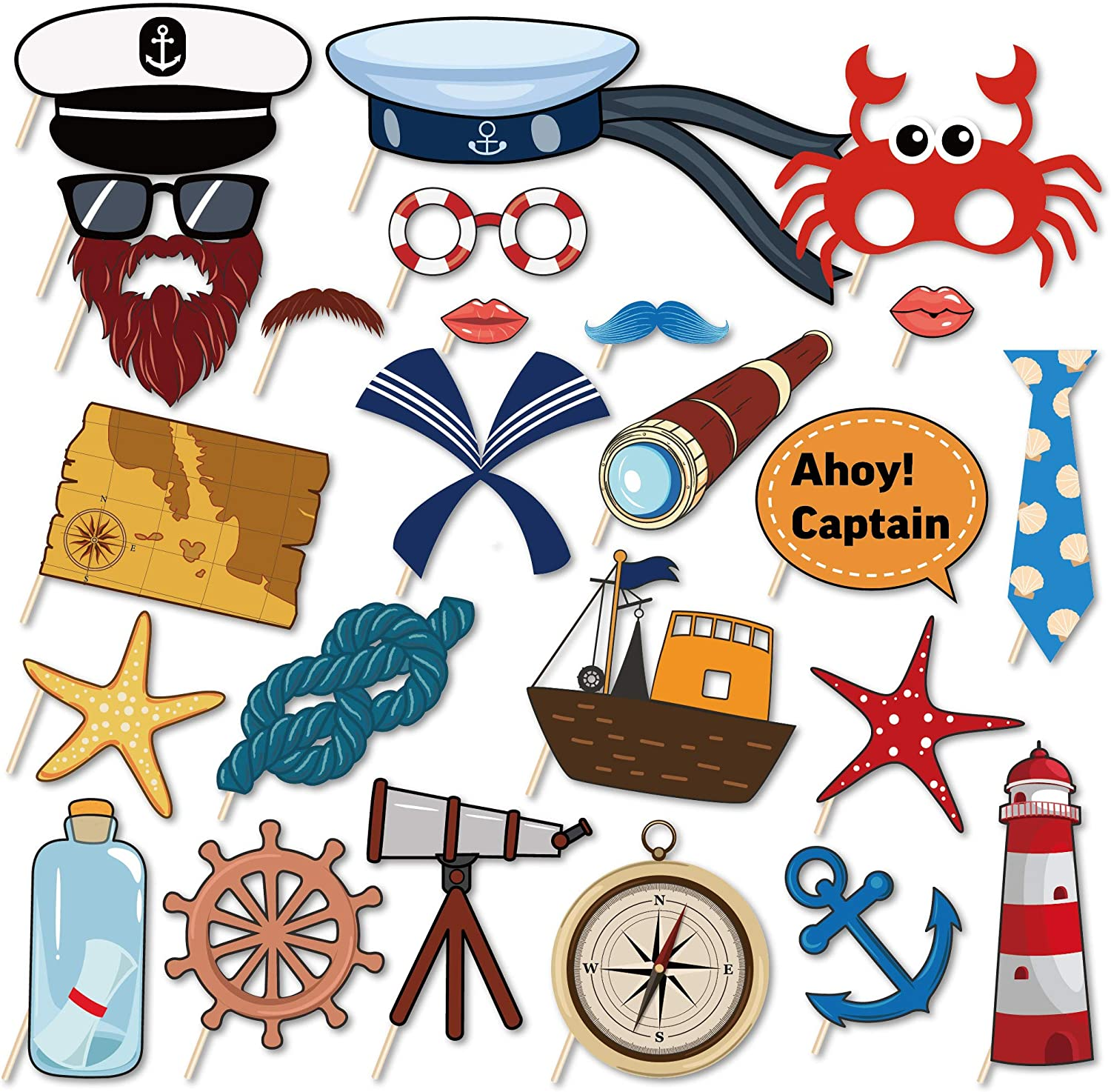 Kristin Paradise 25Pcs Nautical Photo Booth Props with Stick, Ahoy Boy Theme Selfie Props, Sailor Birthday Party Supplies, Cruise Anchor Sailboat Yacht Photography Backdrop Decorations