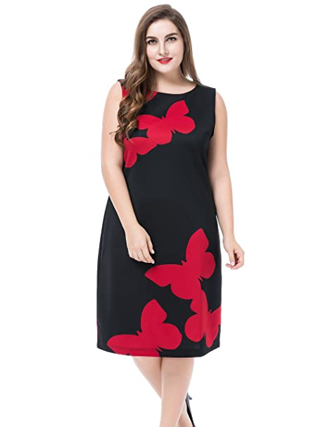 20ab5ee24e5 Chicwe Women s Sleeveless Butterfly Printed Plus Size Dress  Amazon ...