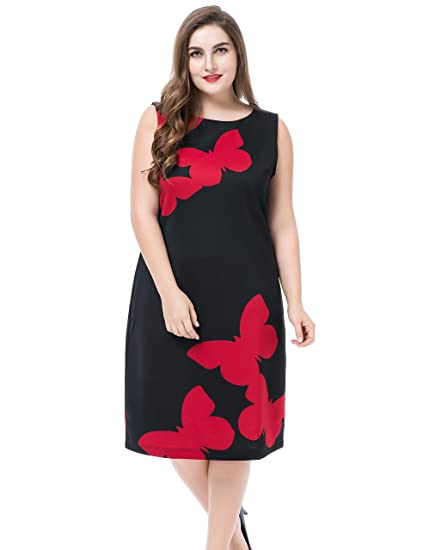 420e9bb35a Chicwe Women's Plus Size Butterfly Printed Sleeveless Plus Size Dress -  Knee Length Casual and Work Dress