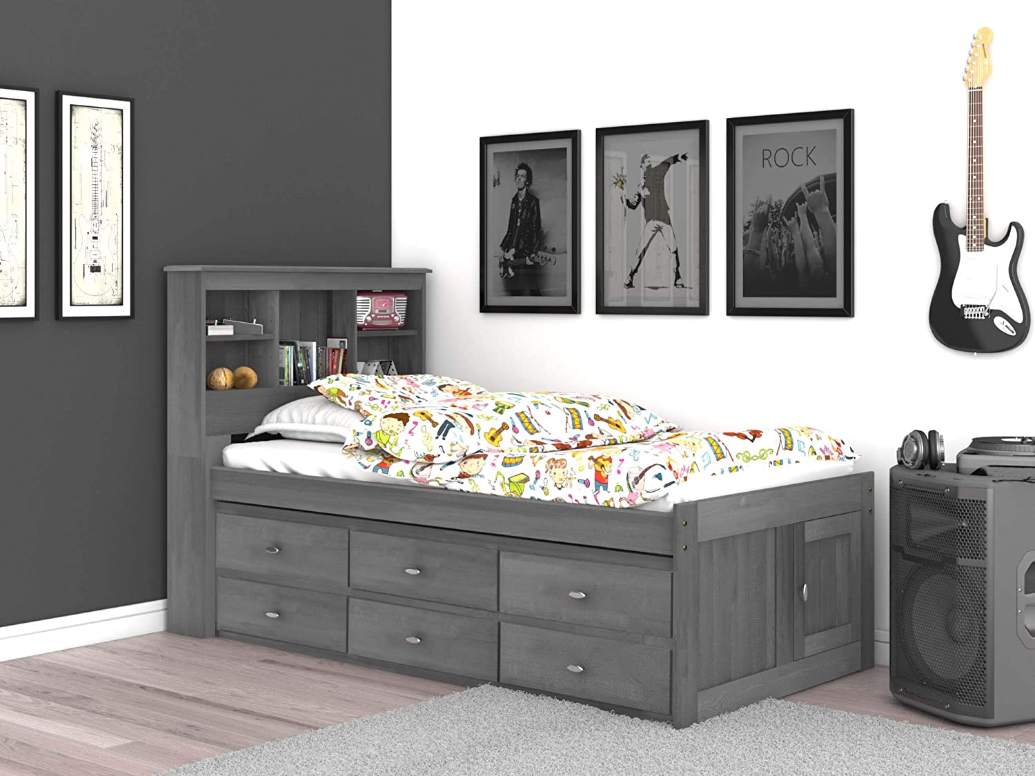 Discovery World Furniture Charcoal Twin Bookcase Bed with 6 Drawers