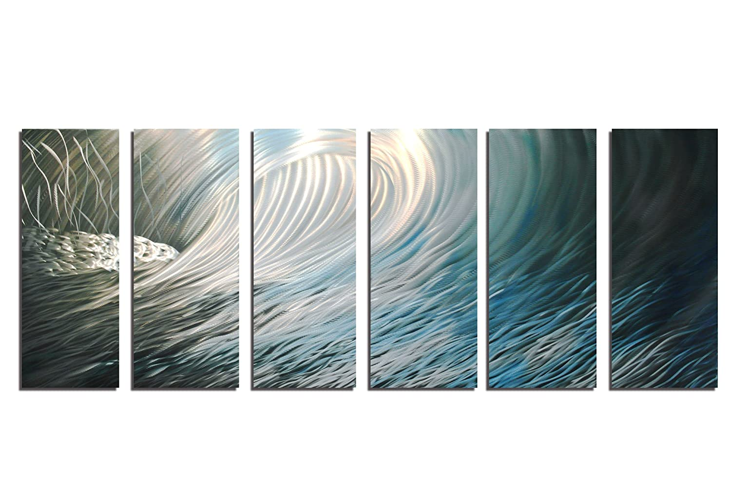 Amazon com metal wall art modern home decor abstract wall sculpture contemporary wave 36x96 kitchen dining