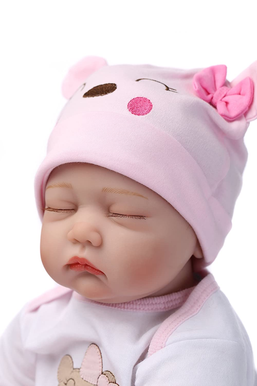 RoyalDoll Reborn Baby Dolls Girl Realistic Sleeping Baby 22 Inch Eyes Closed Handmade Weighted Vinyl Silicone Baby Doll Newborn Children Gifts