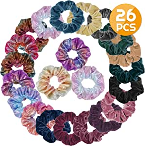 Scrunchies for Hair, Anezus 26 Pack Velvet Scrunchies and Metallic Scrunchies Elastics Hair Bands Scrunchy Bobbles Hair Ties for Women and Girls Hair Accessories