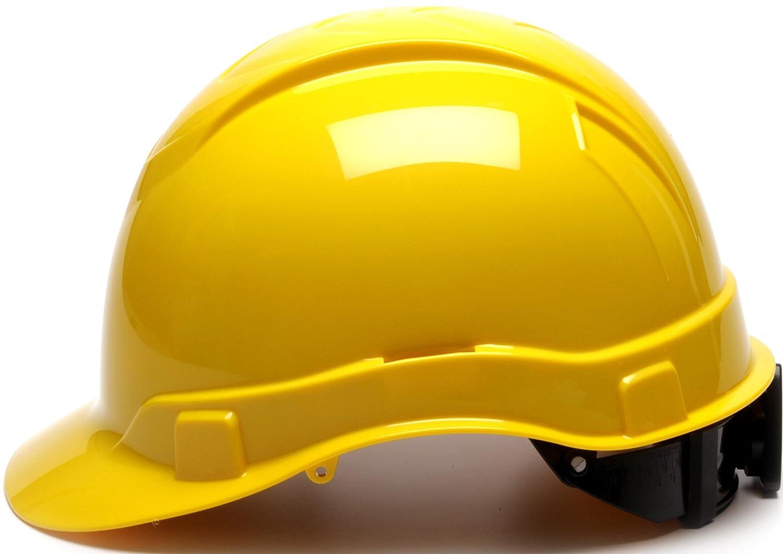 4 Point Ratchet Suspension Pyramex Ridgeline Cap Style Hard Hat Yellow