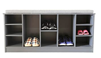 Basicwise Wooden Soft Cushioned Entryway Bench Shoe Storage Cubicle