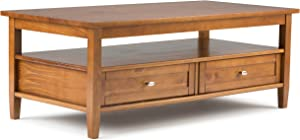 SIMPLIHOME Warm Shaker SOLID WOOD 48 inch Wide Rectangle Rustic Coffee Table in Light Golden Brown with Storage, 2 Drawers and 1 Shelf, for the Living Room, Family Room