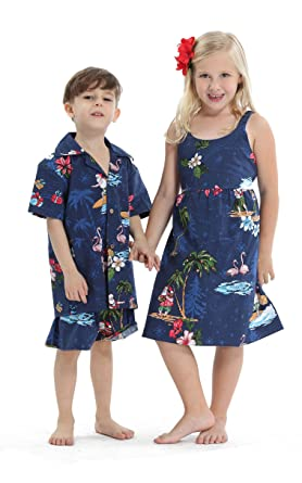 fe4545dd1cc Matching Siblings Boy Girl Hawaiian Luau Outfit Christmas Girl Dress Boy  Shirt Shorts Navy Santa Flamingo
