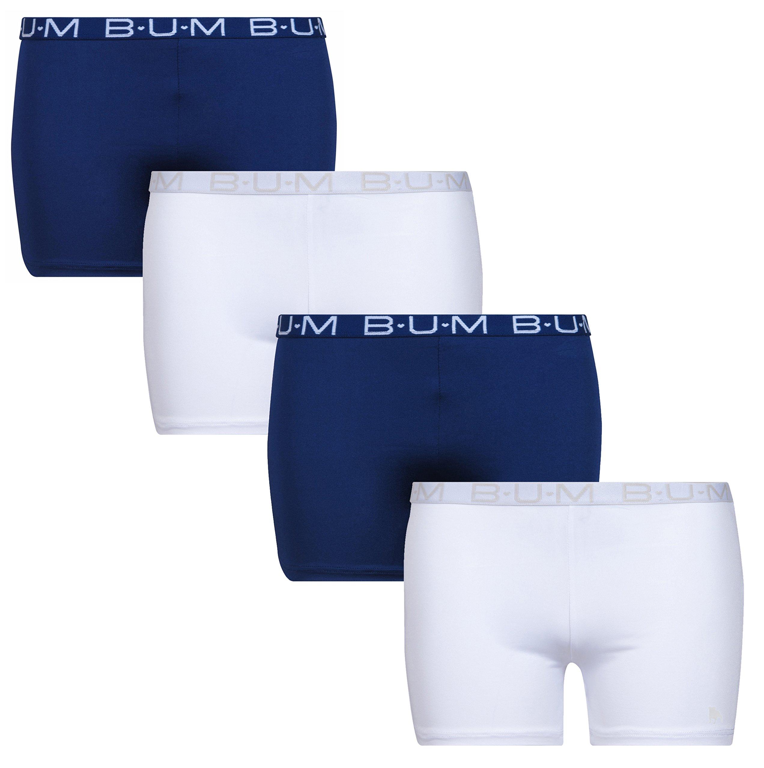 'B.U.M. Equipment Girls' Active Playground Shorts - 4 Pack, Navy, Navy, White, White, Medium - 7/8'