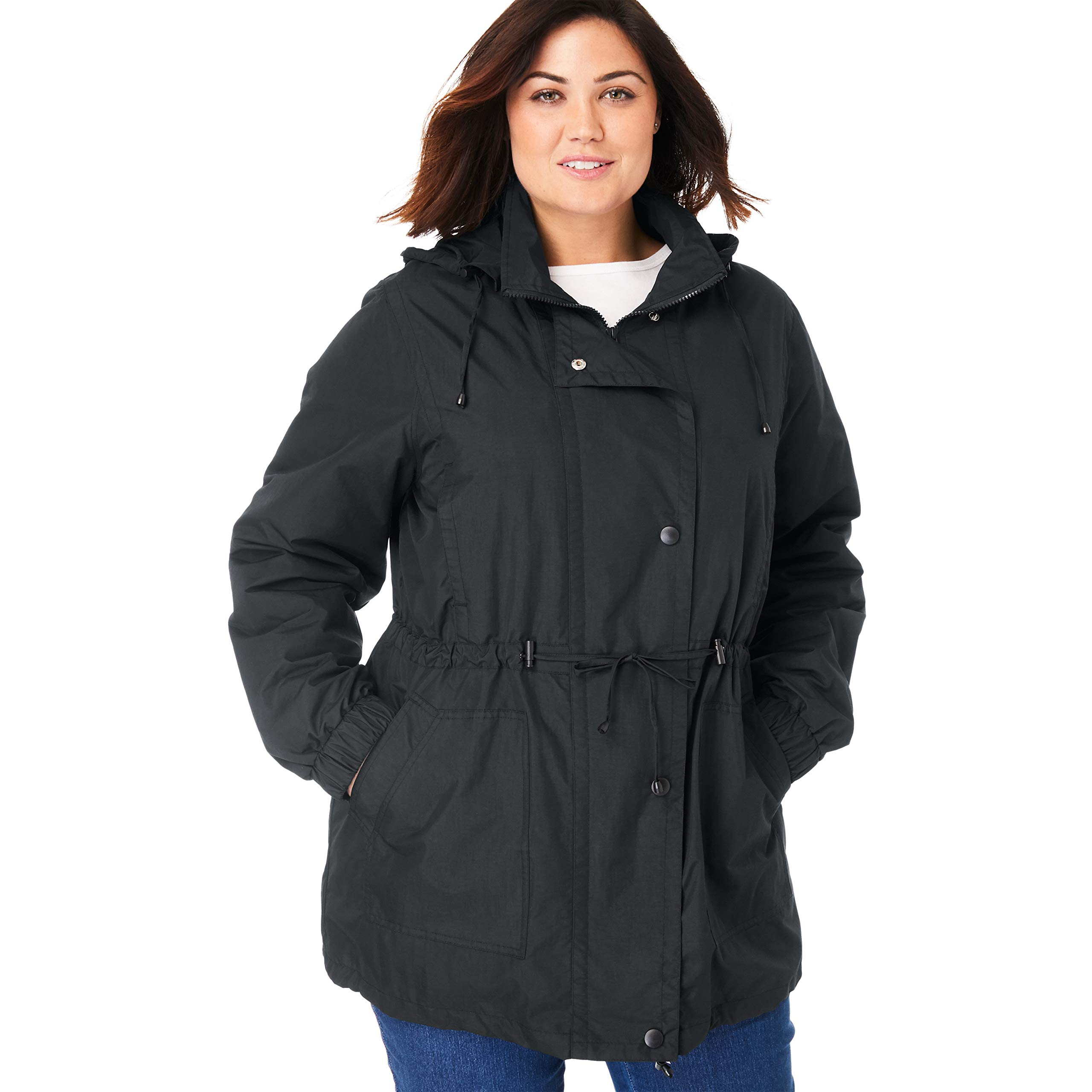 Woman Within Plus Size Women's Plus Size Fleece-Lined Taslon Anorak - Black, 2X by Woman Within