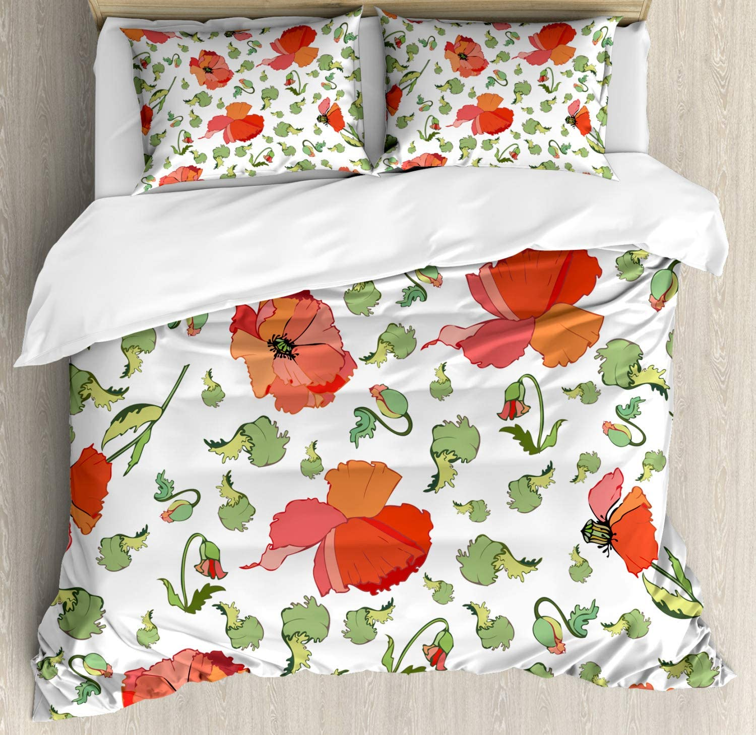 Amazon Com Ambesonne Poppy Flower Duvet Cover Set Buds Stems And Heads Scattered Hand Drawn Style Rural Inflorescence Decorative 3 Piece Bedding Set With 2 Pillow Shams Queen Size Vermilion Green Coral Home