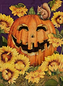 Furiaz Jack O' Lantern Pumpkin Home Decorative Garden Flag, Fall House Yard Outdoor Small Flag Autumn Sunflower Squirrel Vintage Farmhouse Decor Halloween Decoration Seasonal Outside Burlap Flag 12x18
